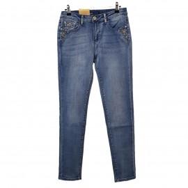 Jean bleu à poches décorées