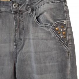 Jean gris à poches décorées