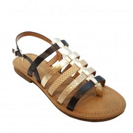 Nu-pied sandale noir et or
