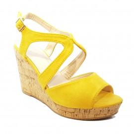 Nu-pied compensé jaune aspect daim