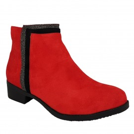 Bottine rouge en nubuck