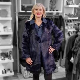Combi manteau perfecto fourrure bleu