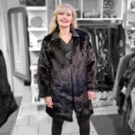 Combi manteau perfecto fourrure coloris noir