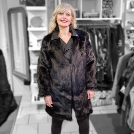 Combi manteau perfecto fourrure noir