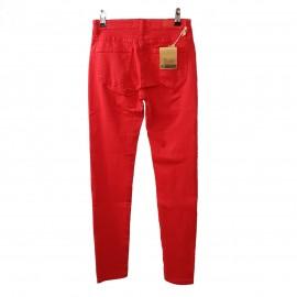 Jean slim rouge à galons noir pailleté