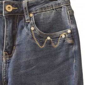 Jean slim bleu à strass aux poches