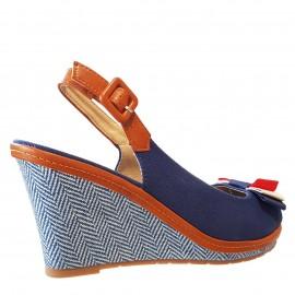 Sandale bleu à talon compensée