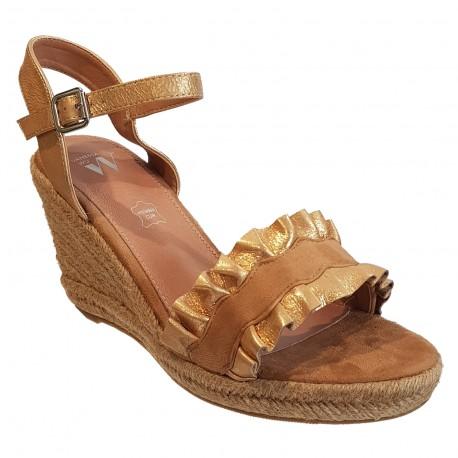 Sandale beige et or compensée