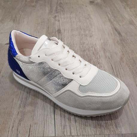 Basket gris et argent à talon bleu