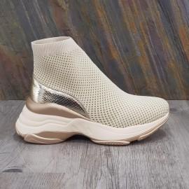 Basket chaussette beige et dorée à grosse semelle