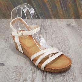 Sandale beige irisée compensée