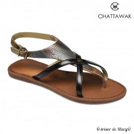 Sandale noire Patou de chez CHATTAWAK