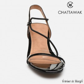 Sandale noir verni Marine de chez CHATTAWAK