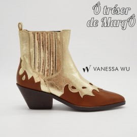 Bottine santiag Vanessa Wu camel et or