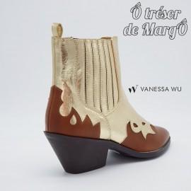 Bottine santiag Vanessa Wu camel et or