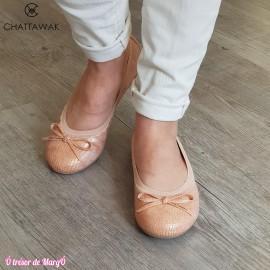 Ballerine Ella croco abricot CHATTAWAK